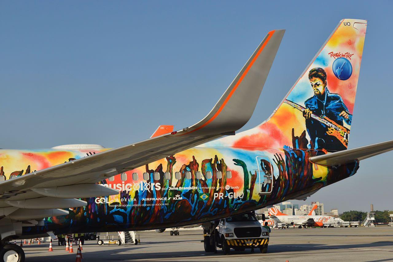 O avião grafitado pelo artista cego John Bramblitt (Foto: Daphne Ruivo)