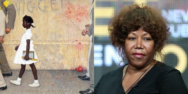 Ruby Bridges retratada na pintura de Norman Rockwell e hoje (Foto: Norman Rockwell/ Reprodução/Instagram | Agência Getty Images)
