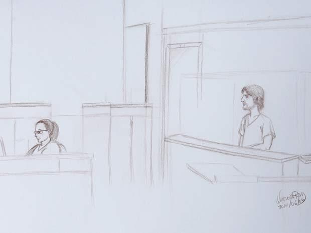 Desenho mostra Justin Bourque, de 24 anos, em sua primeira aparição em corte de Moncton nesta sexta-feira (6) (Foto: REUTERS/Veronick Roy )
