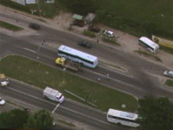 Acidente causa congestionamento em Viamão, RS (Foto: Reprodução/RBS TV)