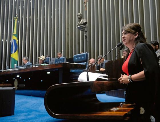 A senadora Kátia Abreu,do PMDB.Ela diz que foi pressionada a manter Gonçalves no cargo quando foi ministra da Agicultura (Foto: Jefferson Rudy/Agência Senado)