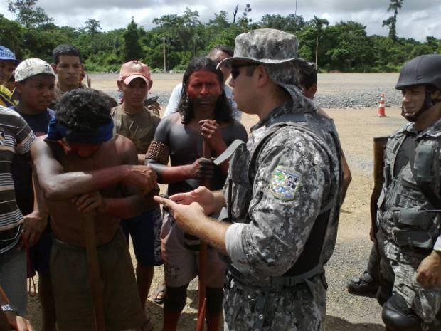 Força Nacional faz segurança no canteiro de Belo Monte após invasão de manifestantes. (Foto: Glaydson Castro/ TV Liberal)