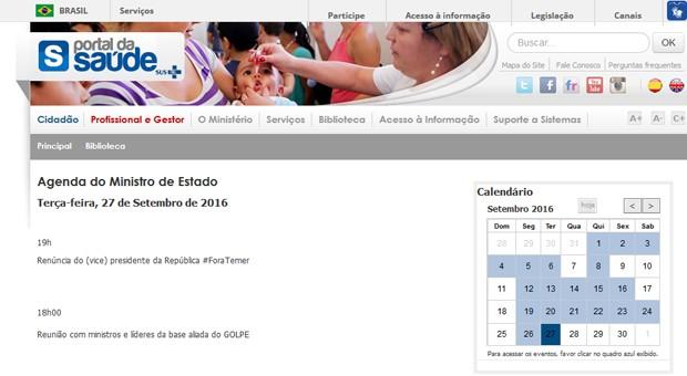 Agenda do ministro da Saúde apareceu com críticas a Temer no site do ministério (Foto: Reprodução/Ministério da Saúde)