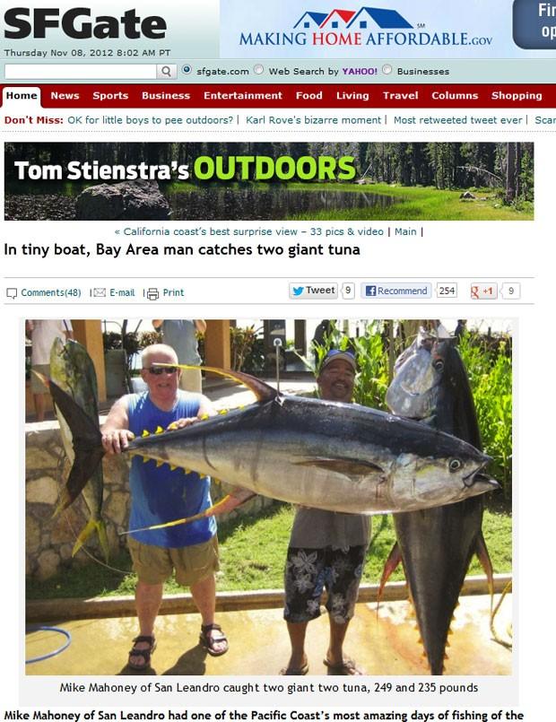 Mike Mahoney fisgou dois atuns de 113 quilos e 106,6 quilos. (Foto: Reprodução)