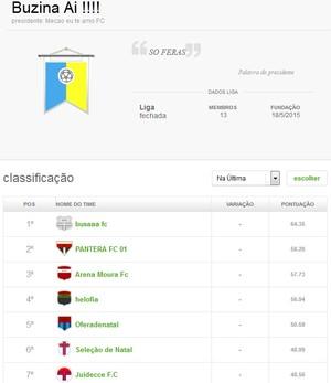Liga Cartola América-RN (Foto: Reprodução)
