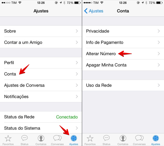 Alterando o número celular no WhatsApp para iOS