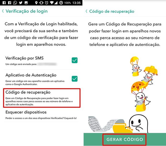 Snapchat pode ter código de recuperação usado no lugar da verificação em duas etapas (Foto: Reprodução/Elson de Souza)