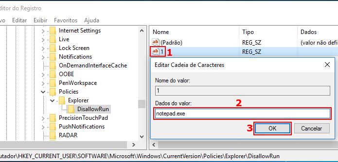 Configurando o valor do item para o nome do executável a ser bloqueado (Foto: Reprodução/Edivaldo Brito)