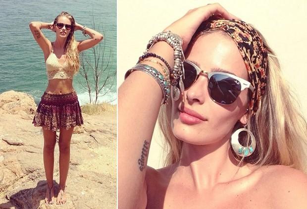 Yasmin Brunet adora usar peas de tric para ir  praia e no abre mo de