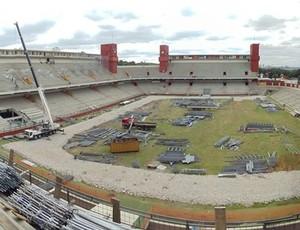 obra estádio arena da baixada, em Curitiba (Foto: Arena)