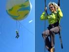 Ana Maria Braga se prende à bola e vai parar a 20 metros de altura no Projac