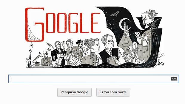 Google cria logo de homenagem para Bram Stoker, autor de 'Drácula' (Foto: Reprodução)