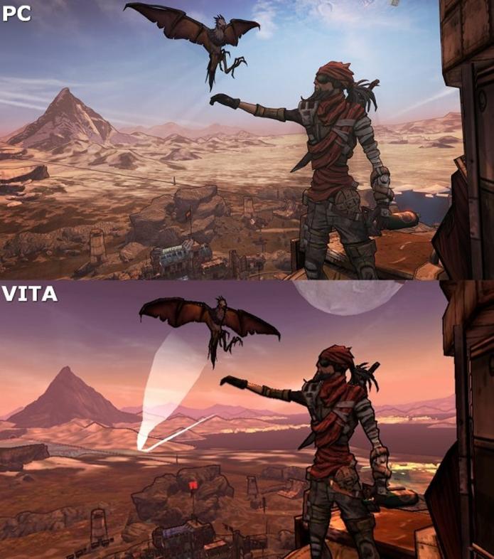 Comparação entre os gráficos de Borderlands 2 para PC e PS Vita (Foto: Divulgação)