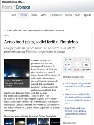 Acidente com avião deixa ao menos 16 feridos em Roma, Itália (Foto: Reprodução)