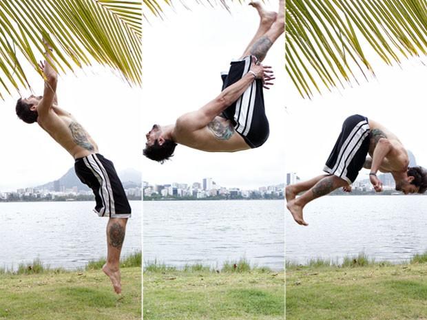 Danilo é praticante de esportes radicais e demonstra com um mortal (Foto: Malhação / TV Globo)