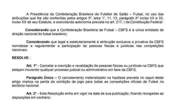 CBFS proíbe clubes e atletas de terem ações na Justiça contra a entidade