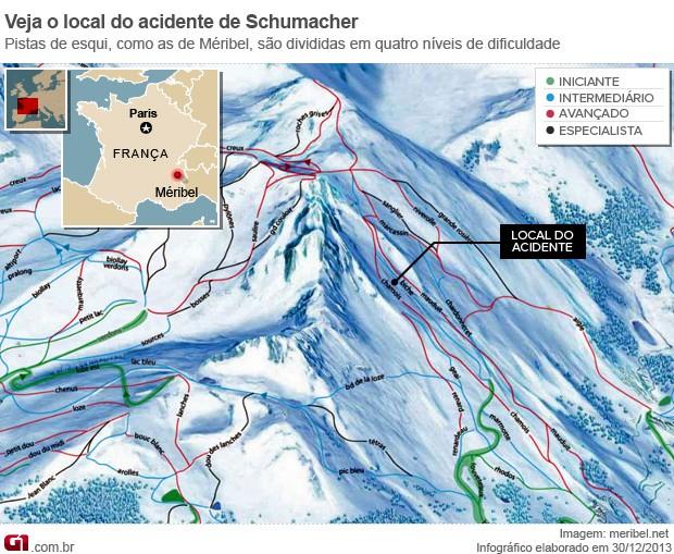 Infográfico mostra onde ocorreu o local do acidente de Michael Schumacher (Foto: Editoria de Arte/G1)