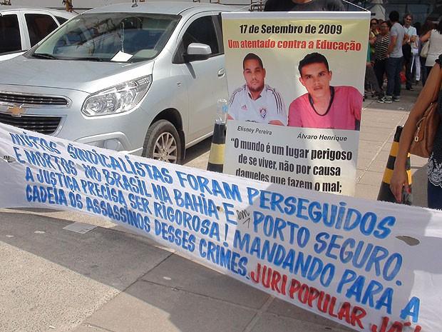 Protesto da APLB no TJ-BA, Salvador, Bahia (Foto: Alanna Sampaio/ G1)