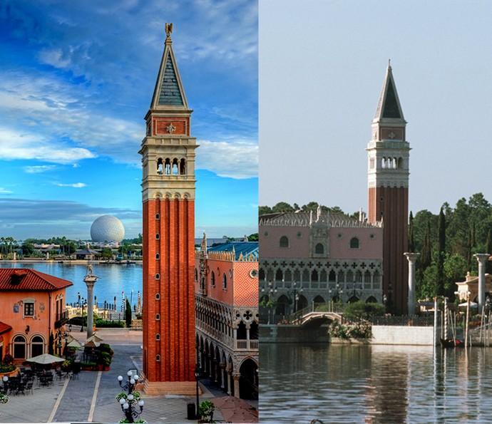 Área da Itália no World Showcase, no Epcot, tem réplica da Piazza San Marco, de Veneza e restaurantes típicos para os visitantes se deliciarem (Foto: Walt Disney World)