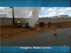 Após acidente, rapaz coloca fogo em carro e é preso em Montes Claros