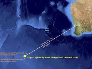 25/3 - Imagem divulgada  por autoridades da Malásia mostra local onde foram detectados objetos do avião  (Foto: Malaysian Remote Sensing Agency/AP)