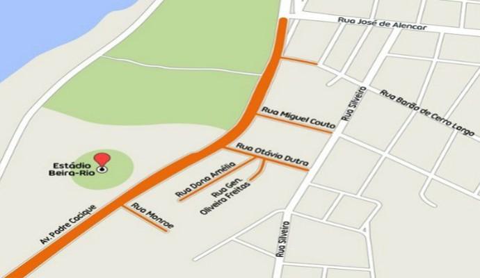 Mapa EPTC beira-rio bloqueios copa porto alegre (Foto: Reprodução)
