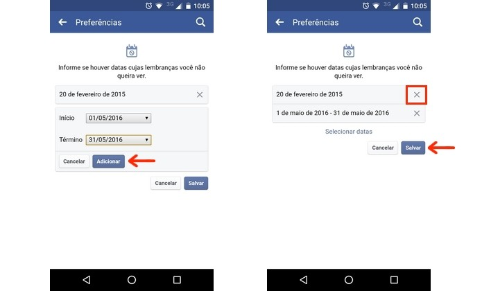 Lista de datas definidas para serem puladas nas lembranças do Facebook (Foto: Reprodução/Raquel Freire)