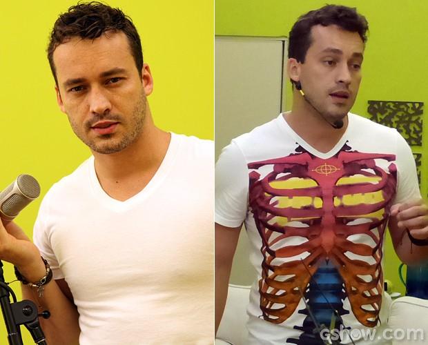 Rodrigo Andrade antes e depois: o ator está com o rosto mais fino (Foto: Carol Caminha e Domingão do Faustão / TV Globo)