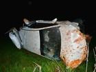 Carro fica destruído após desviar de animal na MS-395 em Bataguassu
