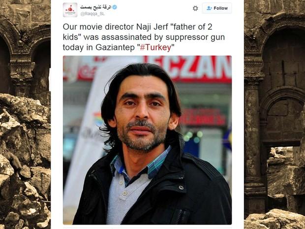 NGrupo anuncia morte do jornalista sírio Naji Jerf em sua conta no Twitter (Foto: Reprodução/ Twitter/ الرقة تذبح بصمت)