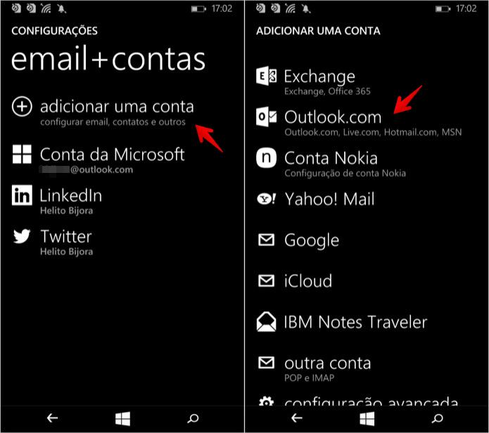 Adicionando conta do Outlook.com (Foto: Reprodução/Helito Bijora)