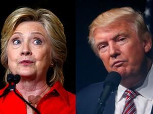 Hillary Clinton em Johnstown, Pensilvânia, no dia 30 de julho, e Donald Trump em Ashburn, Virginia, em 2 de agosto