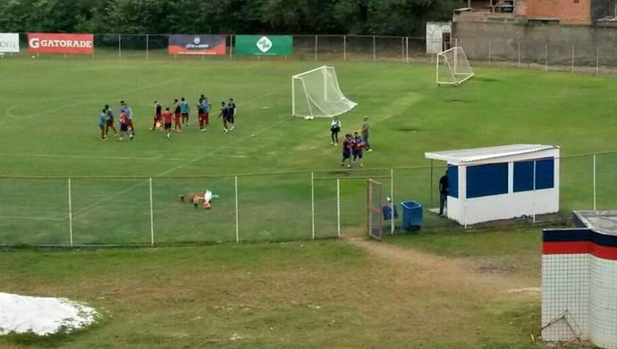 Jogadores do Bahia participam de atividade no Fazendão (Foto: Rafael Santana)