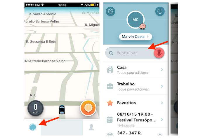 Acessando a barra de pesquisa do Waze no iPhone (Foto: Reprodução/Marvin Costa)