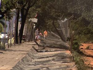 Cerca da Universidade Federal de Minas Gerais é derrubada. (Foto: Reprodução/TV Globo)