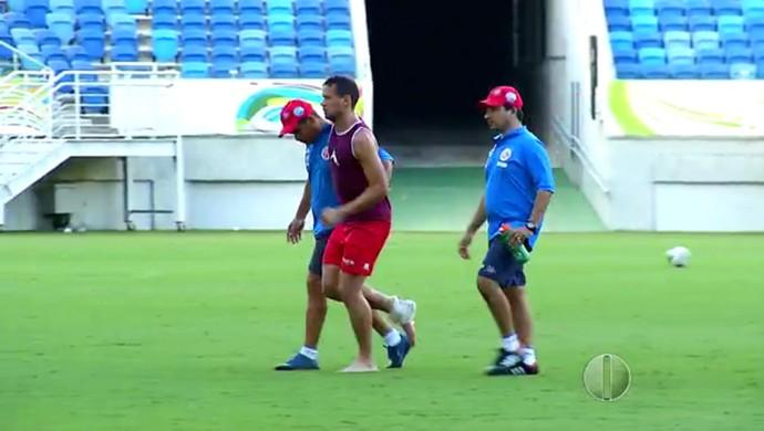 América-RN - Luiz Eduardo lesão tornozelo (Foto: Reprodução/Inter TV Cabugi)