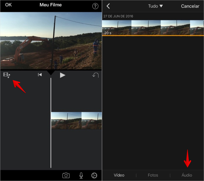 Como colocar música em um projeto no iMovie para iPhone