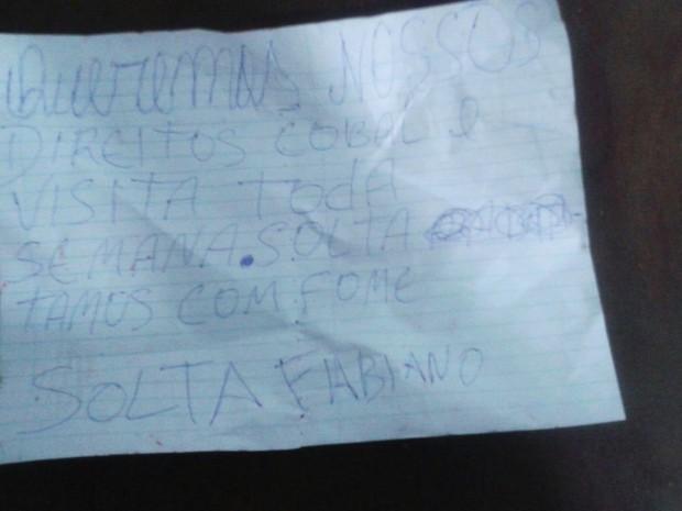 Bilhete foi achado com corpo de dentento em Barreiras, oeste da Bahia (Foto: Divulgação/ Polícia Civil)