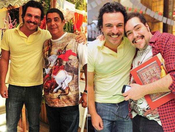 Rodrigo Lombardi abraça Tiago Abravanel no workshop e aproveita para tirar foto com Zeca Pagodinho (Foto: TV  Globo/ João Miguel Júnior)