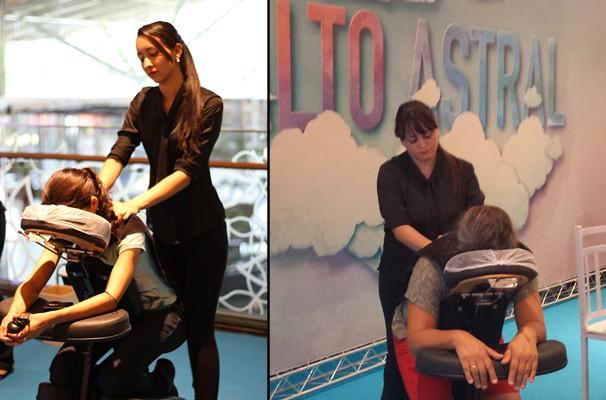 Massagens foram oferecidas para todos que passavam no local. (Foto: TV Anhanguera)