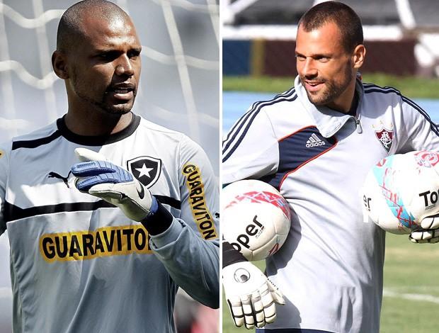 Jefferson Botafogo diego Cavalieri fluminense (Foto: Editoria de Arte/Globoesporte.com)