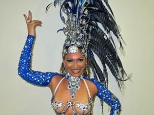 Eliane Beretta, rainha de bateria da Acadêmicos do Tatuapé (Foto: Marcelo Mora/G1)
