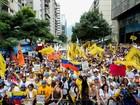 Venezuelanos se manifestam em apoio a líder opositor preso