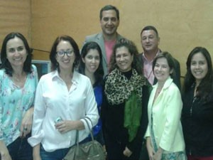 Equipe de jornalismo da TV Integração no evento.  (Foto: Divulgação)