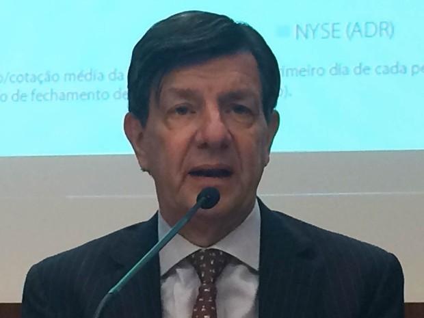 O presidente do Itaú Unibanco, Roberto Setubal, durante entrevista nesta terça-feira (2) em São Paulo (Foto: Darlan Alvarenga/G1)