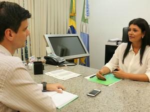 Governadora em exercício Rose Modesto concede entrevista ao G1 (Foto: Leca/Assessoria de Imprensa da Vice-Governadoria de MS)