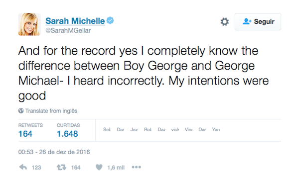 O pedido de desculpas de Sarah Michelle Gellar (Foto: Twitter)