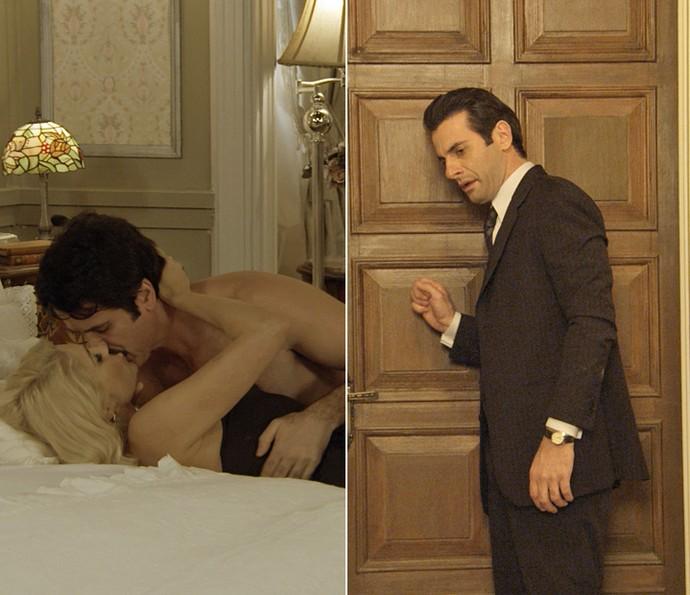 Araújo chega quando Sandra e Ernesto se pegam na cama! (Foto: TV Globo)