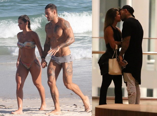 Lucas Lucco flagrado em praia de mãos dadas e, em shopping, aos beijos (Foto: Agnews)