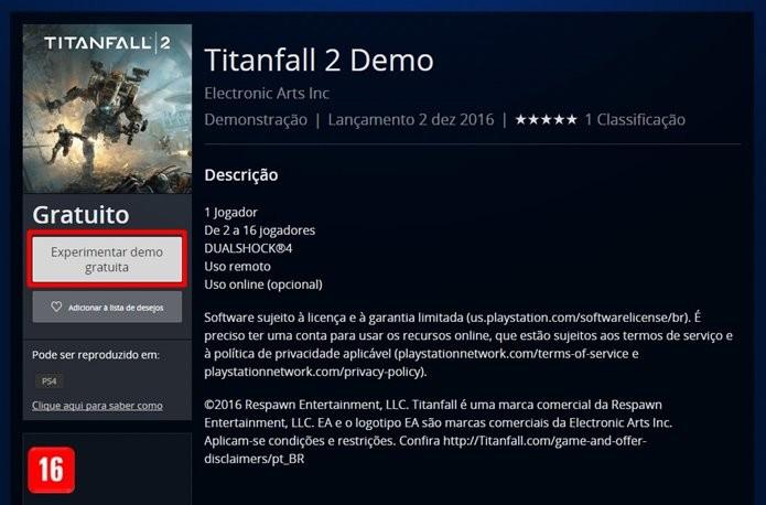 PSN é a única a exibir o multiplayer grátis de Titanfall 2 como uma opção individual (Foto: Reprodução/Felipe Demartini)